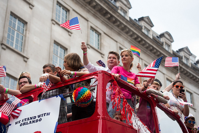 U.S. participants at the 2016 Pride London ride the Pride bus