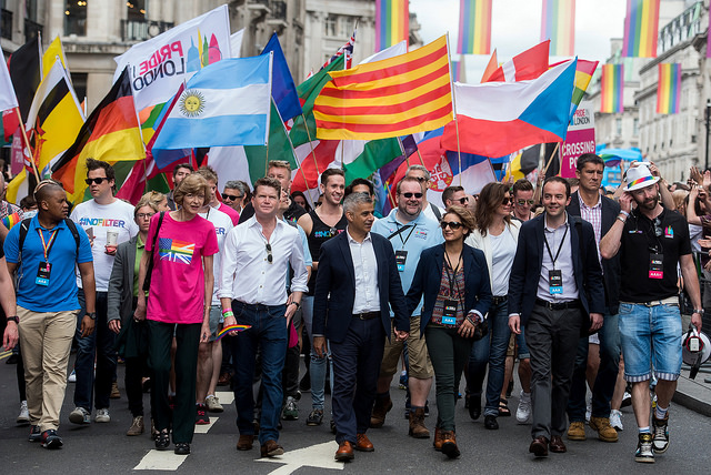 Ambassador Barzun and London Mayor Sadiq Khan lead the London 2016 Pride Parade