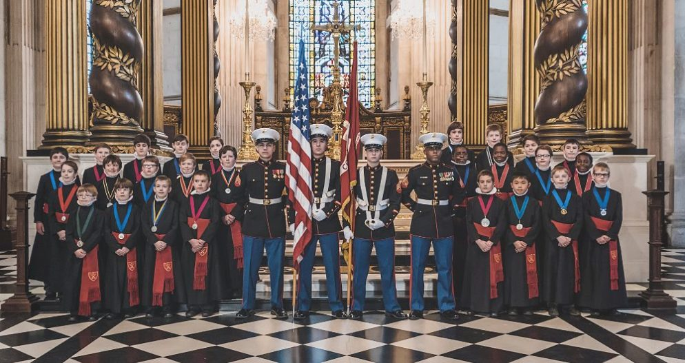 St Pauls choir and U.S. Marines Corps in St Pauls Cathedral for Thanksgiving 2014