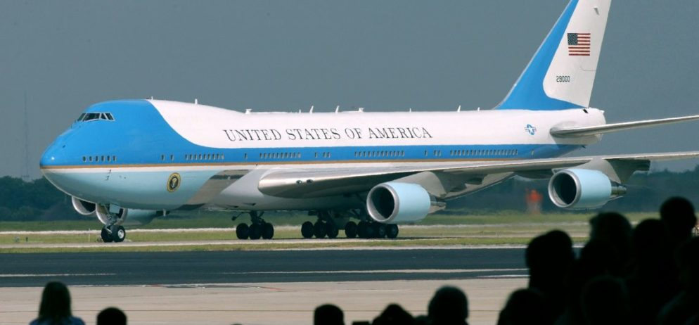 Air Force One taxies along the tarmac