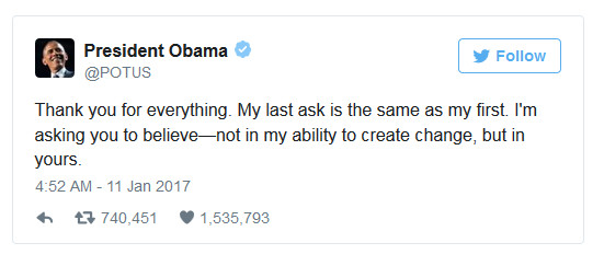 President Barack Obama farewell tweet on 11 January 2017