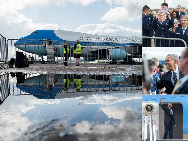 POTUS is wheels-up! President Obama thanked U.S. service personnel before departing the UK this morning: