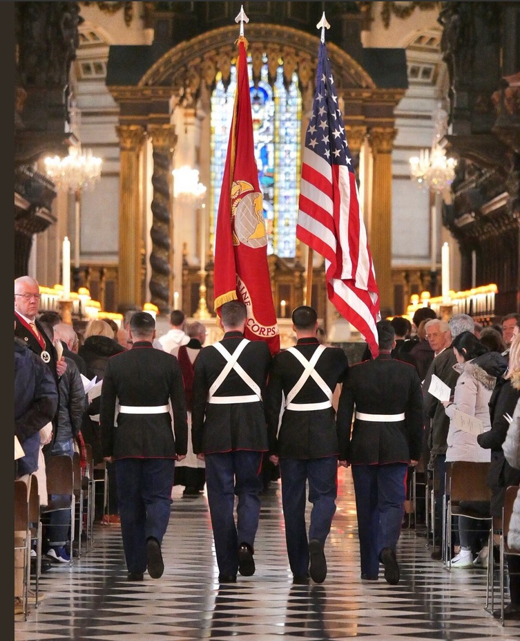 U.S. Marine Honor Guard at the 2018 Thanksgiving Day service at St Pauls cathedral (courtesy of Graham Lacdao)