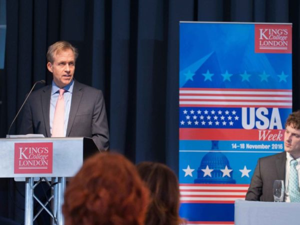 Mr Lewis Lukens , Deputy Chief of Mission, U.S. Embassy London, delivers opening remarks at USA Week, at Kings College London's Strand Campus. 14th November 2016 (Photo courtesy KCL)