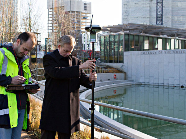 DCM Lewis Lukens works with the Ordnance Survey's Steve Ives, to capture the new Embassy and its surrounding site.